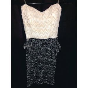 Cute cream/black & white pencil skirt dress